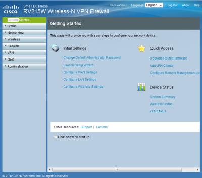 Cisco RV215W Weboberfläche