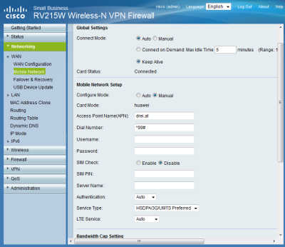 Cisco-RV215W drei.at Einstellungen