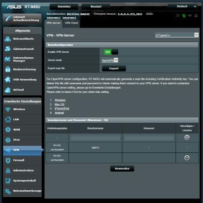 ASUS RT-N65U als OpenVPN Server