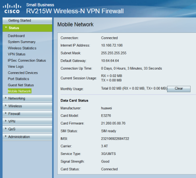 Huawei E3276-Cisco RV215W