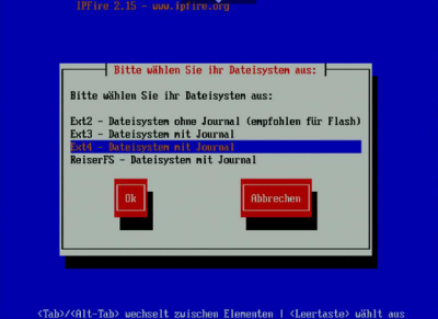 IPFire Ext4-Dateisystem