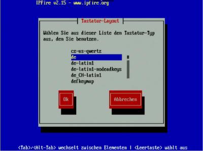 IPFire Installation-Tastatur