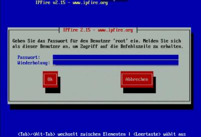 IPFire Root-Passwort