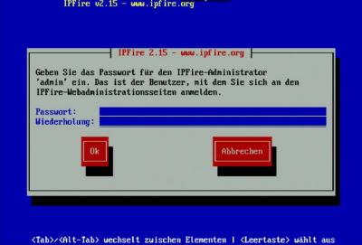 IPFire Admin-Passwort