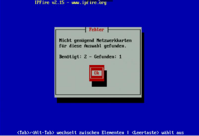 IPFire Fehlermeldung