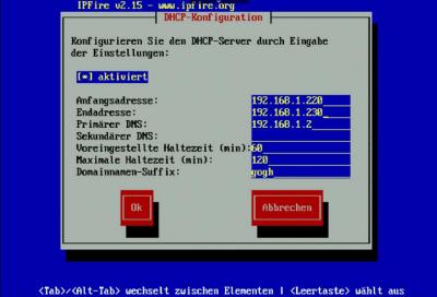 IPFire DHCP-Netzwerk