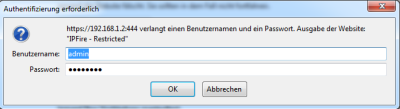 IPFire-Benutzer Passwort