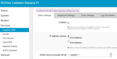 ROOter LeMaker Banana Pi Dynamic DNS